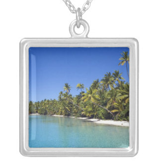 Palm lined beach Cook Islands 2 Silver Plated Necklace