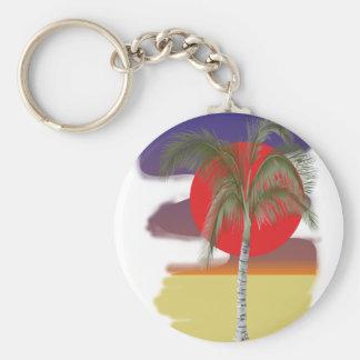 Palm palm tree basic round button keychain