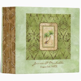 Palm Paradise Green Wedding Photo Scrapbook Binder