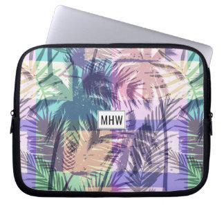 Palm Pattern custom monogram laptop sleeves