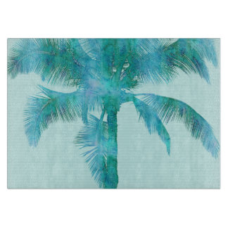 Palm Silhouette Blue Watercolor Background Texture Cutting Board