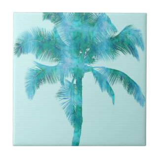 Palm Silhouette Blue Watercolor Background Texture Tile