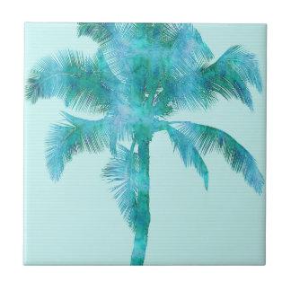 Palm Silhouette Blue Watercolor Background Texture Tiles