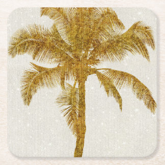 Palm Silhouette Gold Faux Glitter Tropical Design Square Paper Coaster