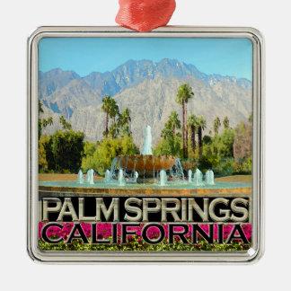 Palm Springs Silver-Colored Square Ornament