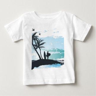 Palm summer surfer background baby T-Shirt