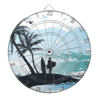 Palm summer surfer background dartboard