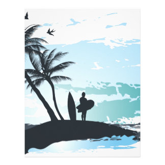 Palm summer surfer background letterhead