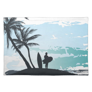 Palm summer surfer background placemat