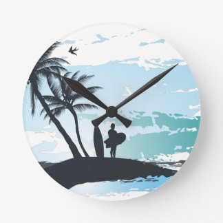 Palm summer surfer background round clock