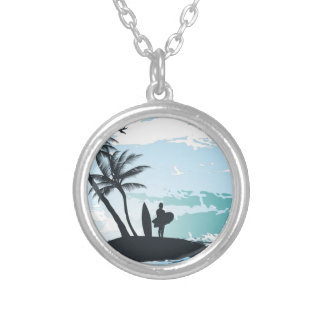 Palm summer surfer background silver plated necklace