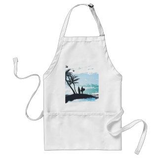 Palm summer surfer background standard apron