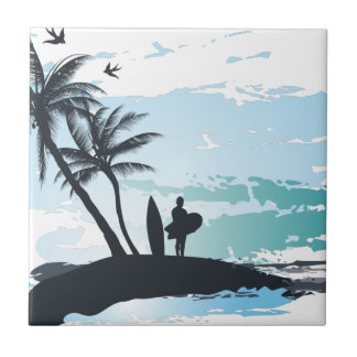 Palm summer surfer background tile