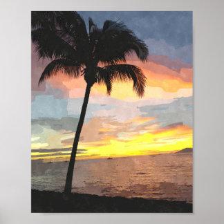 Palm Sunset Watercolor Print 8x10