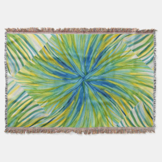 Palm Tree Abstract Watercolor Throw Blanket