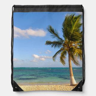 Palm Tree and Beach Drawstring Bag