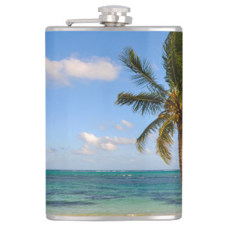Palm Tree and Beach Hip Flask
