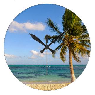 Palm Tree and Beach Large Clock