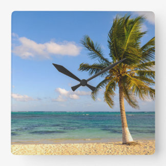 Palm Tree and Beach Square Wall Clock
