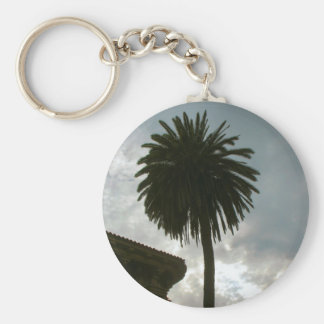 palm tree and clouds basic round button keychain