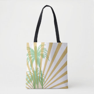 Palm Tree and Golden Rays Tote Bag