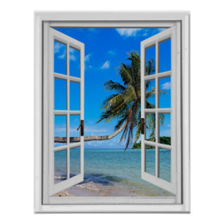 Palm Tree and Ocean Artificial Window View Poster