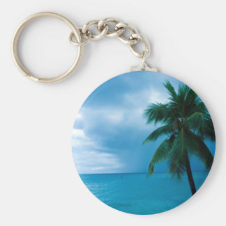 palm tree and ocean basic round button keychain