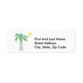 Palm Tree and Sun Cartoon Return Address Label