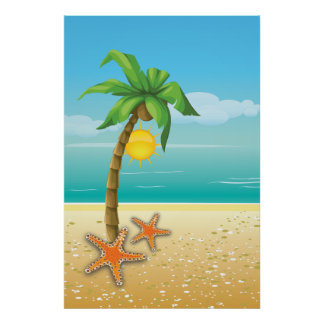 Palm tree and sun tropical scenery print/poster poster