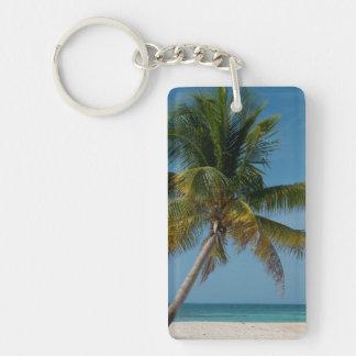 Palm tree and white sand beach  2 Double-Sided rectangular acrylic keychain