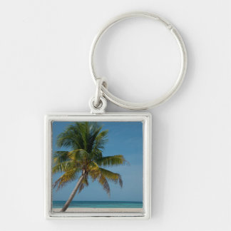 Palm tree and white sand beach  2 Silver-Colored square keychain