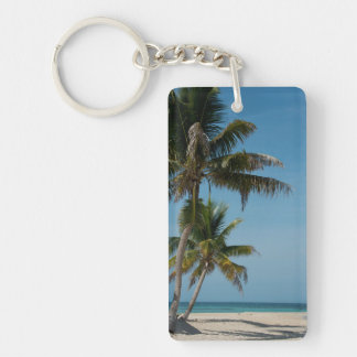 Palm tree and white sand beach Double-Sided rectangular acrylic keychain