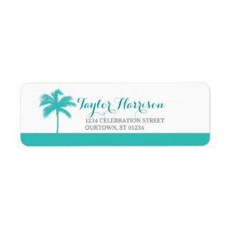 Palm Tree Aqua Gray Address Label