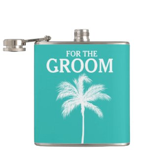 Palm Tree Aqua Groom Flask