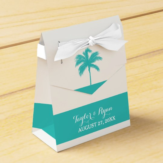 Palm Tree Aqua Wedding Favour Box