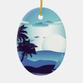 Palm Tree at Night 4 Ceramic Oval Ornament