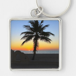 Palm Tree at Sunset on Beach Silver-Colored Square Keychain