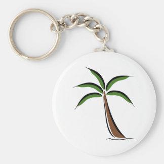 Palm Tree Basic Round Button Keychain