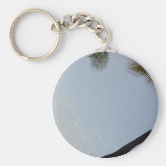Palm tree beach basic round button keychain