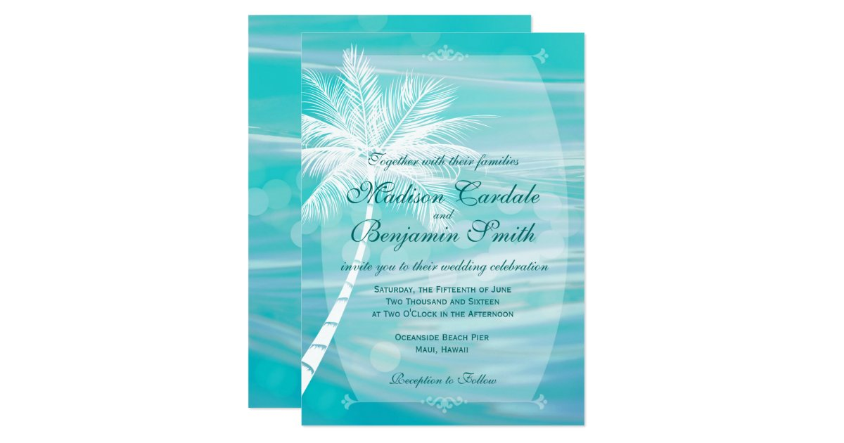 Palm tree beach destination wedding invitations zazzleca for Electronic destination wedding invitations