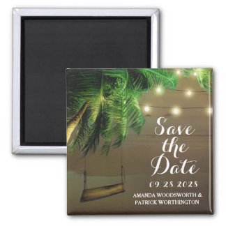 Palm Tree Beach Lights Save the Date Magnets
