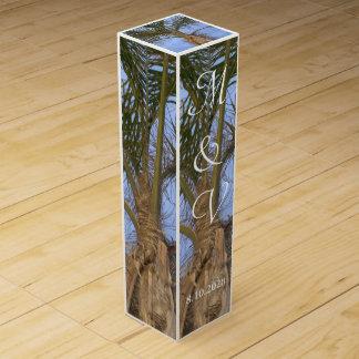 Palm Tree Beach Monogrammed Wedding Wine Box Favor