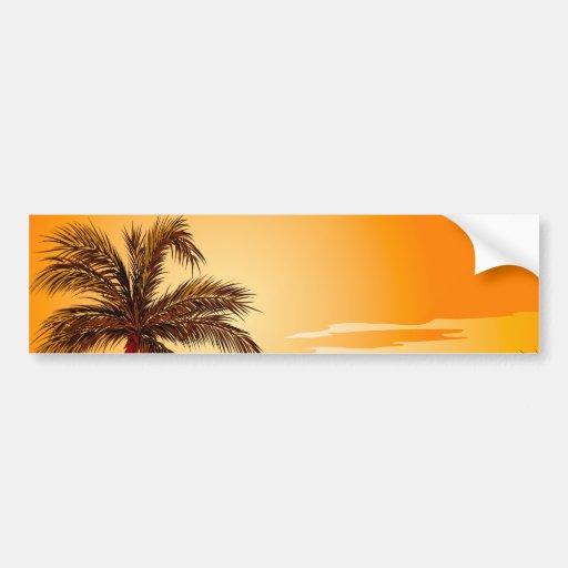 Palm Tree Beach Sunset Bumper Stickers