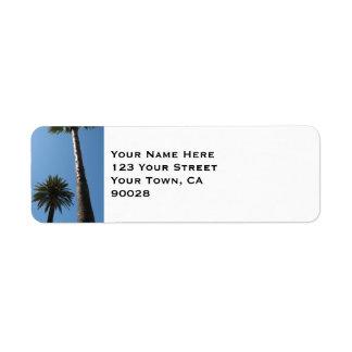 palm tree blue sky return address label