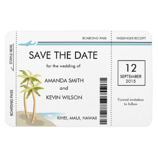 Palm Tree Boarding Pass Save the Date Magnets