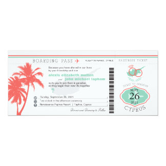 "Palm Tree Boarding Pass to Cyprus Wedding 4"" X 9.25"" Invitation Card"