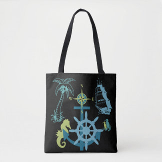 Palm Tree Boating Helm Compass Anchor Seahorse Tote Bag