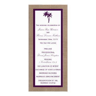 Palm Tree Burlap Beach Wedding | Choose Your Color Rack Card