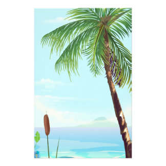 Palm tree by the beach stationery