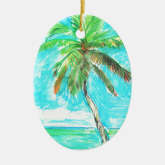 Palm Tree Ceramic Oval Ornament
